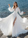 Simple V-Neck Long Sleeve Side Slit Wedding Dresses, PD01757