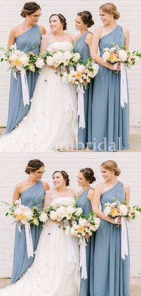 Elegant Blue One Shoulder A-Line Bridesmaid Dresses, PD01717