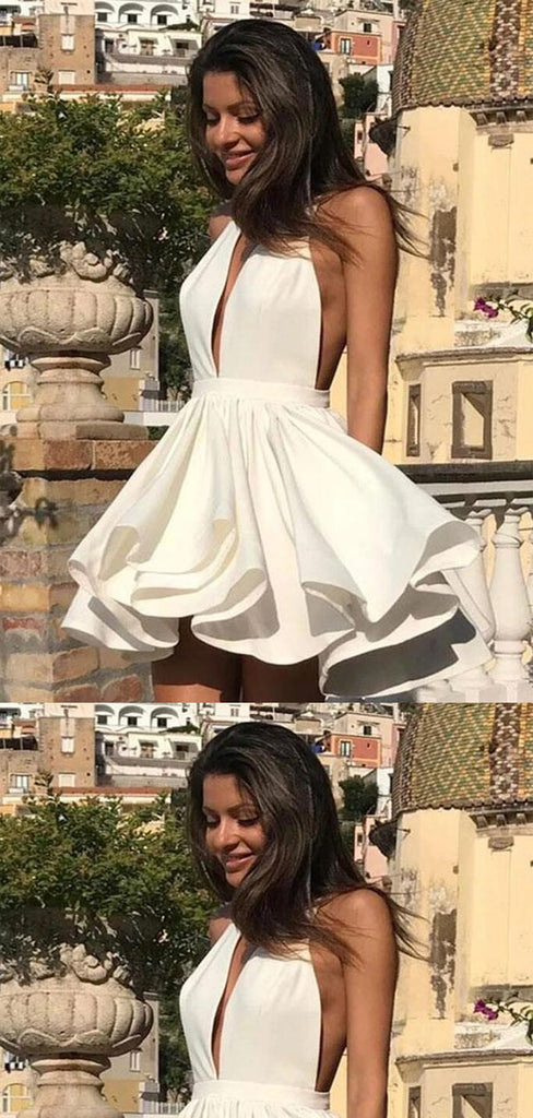 Simple V-Neck Layered Homecoming Dresses, 2019 Freshman Homecoming Dresses, VB02452