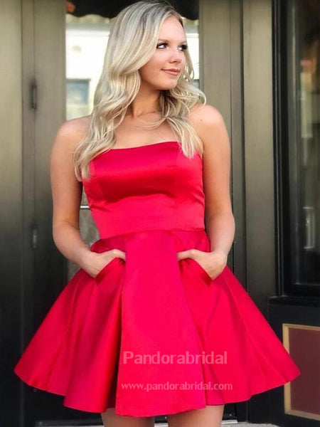 Simple Res Strapless A-Line Homecoming Dresses With Two Pockets, VB02504