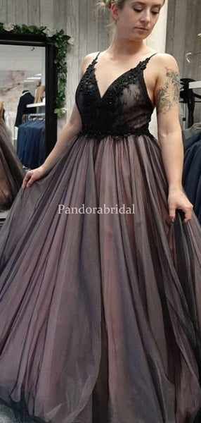 Sexy Black Top With Lace A-Line Floor Length Tulle Prom Dresses, PD0976