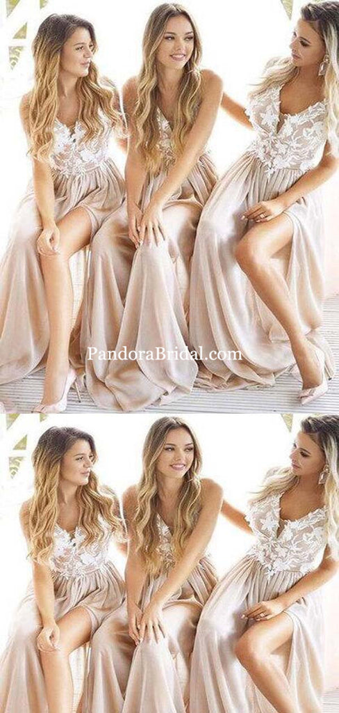 Charming V-Neck With Appliques Long A-Line Side-Slit Chiffon Bridesmaid Dresses, Bridesmaid Dresses, PD0439