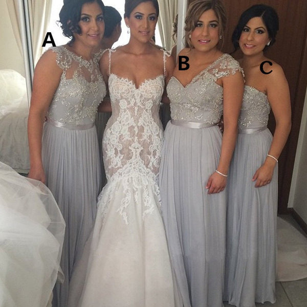 Popular Women Mismatched Lace Top Grey Chiffon Formal Floor Length Cheap Bridesmaid Dresses, PD0072
