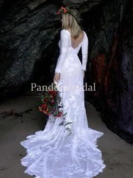 Simple Scoop Neckline Long Sleeve Lace Mermaid Wedding Dresses, PD01721