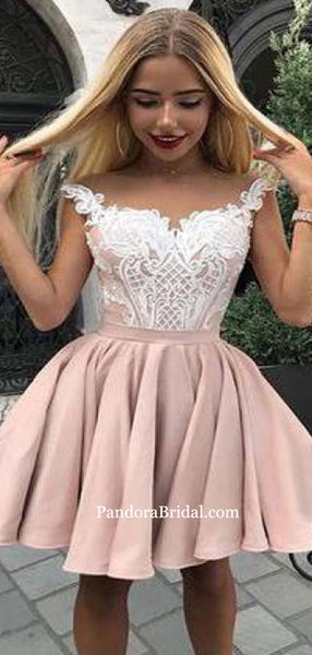 Lovely Straps Lace Top Short A-Line Homecoming Dresses, Graduation Dresses, PD0602