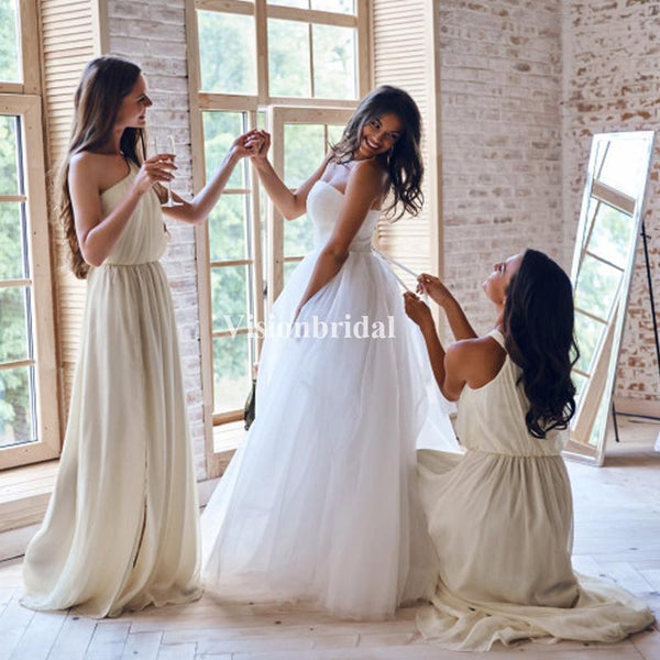 One Shoulder Long A-Line Chiffon Bridesmaid Dresses, VB02902