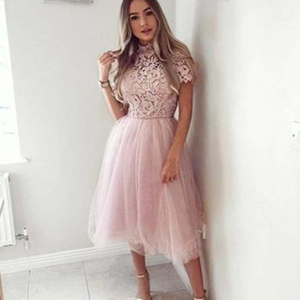 Elegant Pink High Neck Lace Top Short Sleeve A-Line Tulle Prom Dresses, Prom Dresses, PD0469