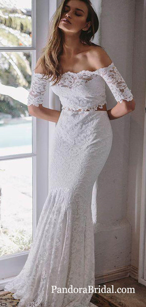 Elegant Two Pieces Off Shoulder Long Mermaid Lace Wedding Dresses, Exquisite Wedding Dresses, PD0663