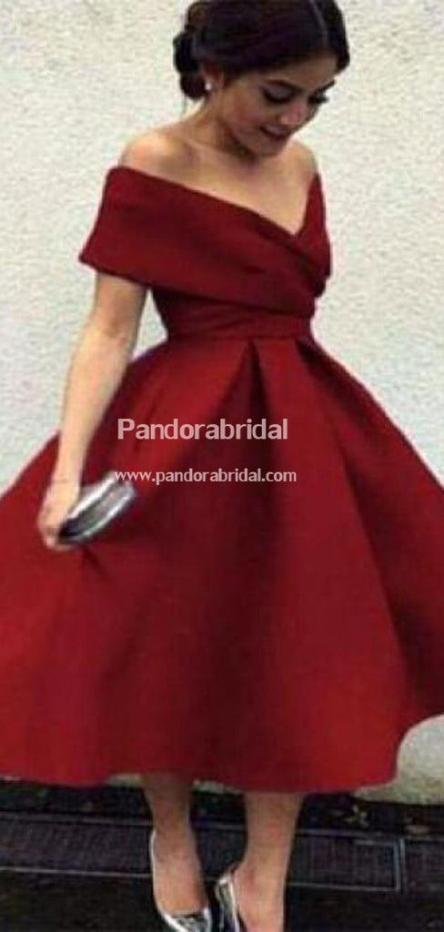 Classy Burgundy Off Shoulder A-Line Homecoming Dresses, Simple Homecoming Dresses, VB02535