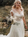 Elegant Lace Top Cap Sleeve A Line Tulle Wedding Dresses, PD0925