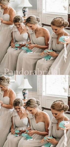 Simple Light Grey One Shoulder A-Line Chiffon Bridesmaid Dresses, PD01704