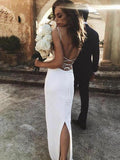Unique Spaghetti Straps Crisscross Back Sheath Wedding Dresses, VB03267