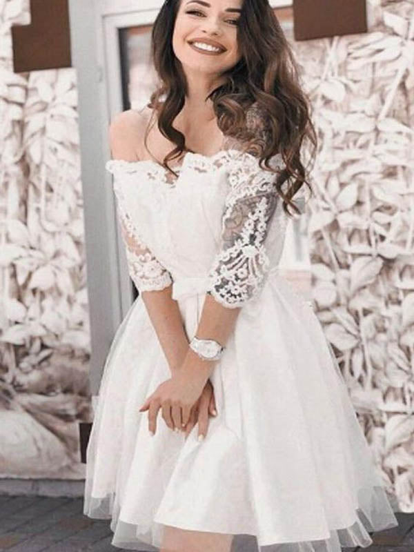 7670504342e6 Off White Lace Top Off Shoulder Short A-Line Tulle Homecoming Dresses, Homecoming  Dresses