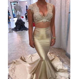 2 Pieces V-neck Gold Satin Prom Dresses, Lace Prom Dresses, Long Mermaid Prom Dresses, PD0381