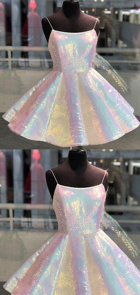 Shinny Spaghetti Straps Short Homecoming Dresses, Unique Freshman Homecoming Dresses, PD0832