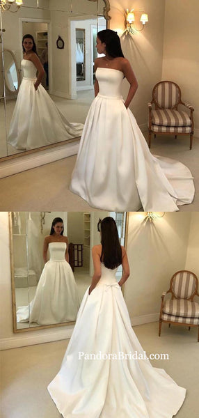 Alluring Strapless Long A-Line Wedding Dresses With Trailing, Wedding Dresses With Bow-Knot, PD0792