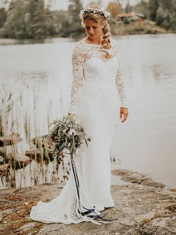 Illusion Long Sleeve Mermaid Lace Wedding Dresses, PD01791