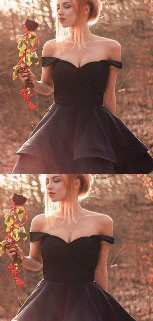Elegant Black Off Shoulder Layered Homecoming Dresses, Homecoming Dresses, PD0833
