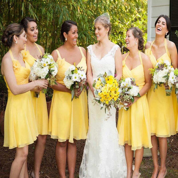 Alluring Yellow Halter Short A-Line Chiffon Bridesmaid Dresses, Top Pleated Bridesmaid Dresses, PD0564