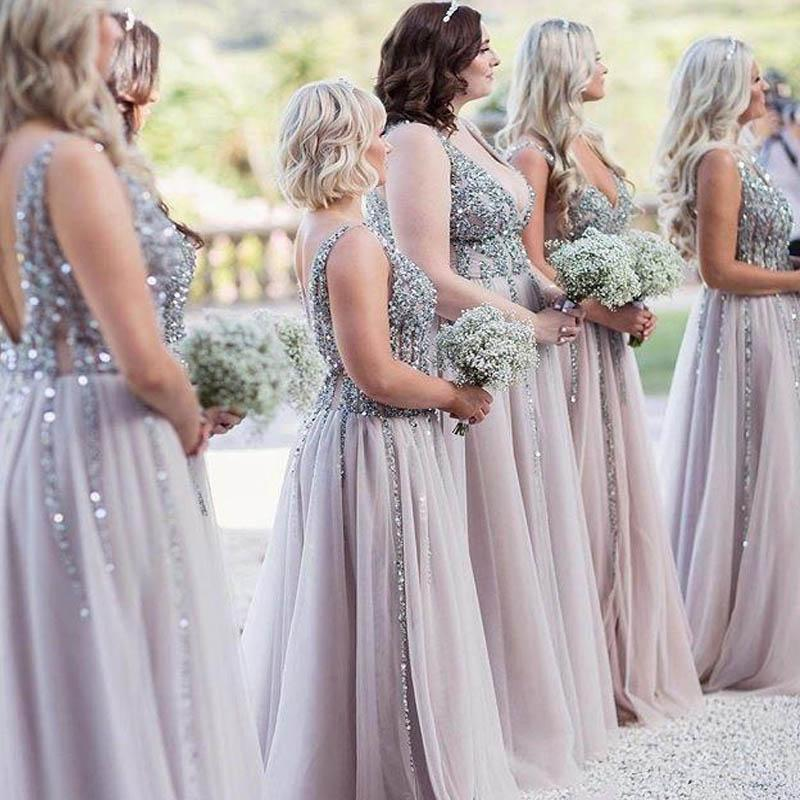 Shiny Beading V-Neck Long A-Line Tulle Bridesmaid Dresses, 2019 Bridesmaid Dresses, VB02314