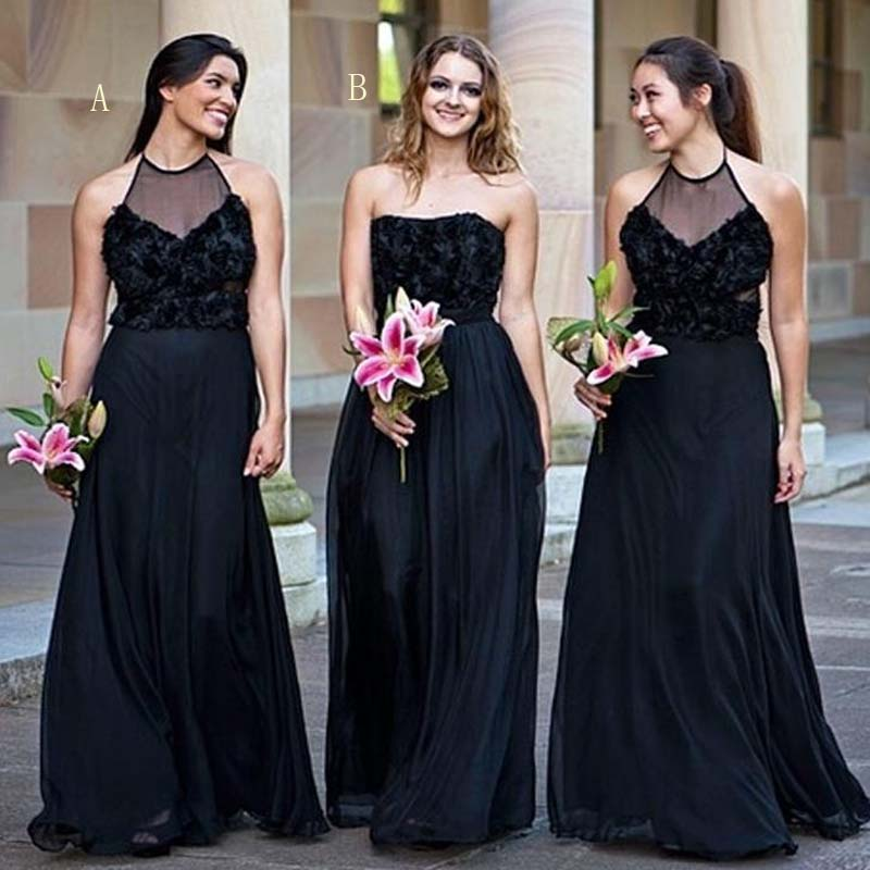 Elegant Black Lace Top Mismatched Long A-Line Chiffon Bridesmaid Dresses, Bridesmaid Dresses, PD0565