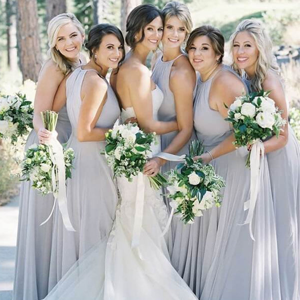 Alluring Sleevless Long A-Line Chiffon Bridesmaid Dresses, PD01736