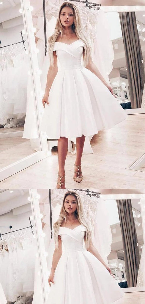 Simple Off Shoulder Knee-Length Homecoming Dresses, Freshman Homecoming Dresses, VB02455