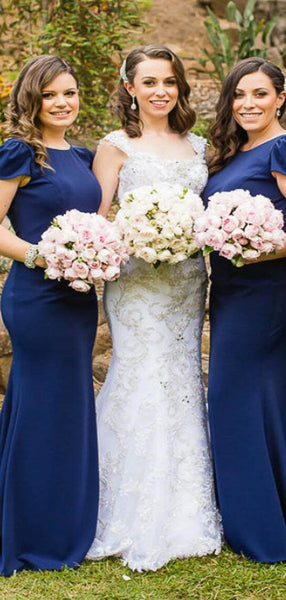 Elegant Navy Blue Bateau Neckline Cap Sleeve Long Mermaid Bridesmaid Dresses, Simple Bridesmaid Dresses, VB02270