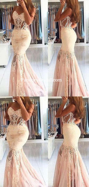 Sweetheart See Through Lace Mermaid Prom Dresses, Gorgeous Prom Dresses, Long Cheap Prom Dress, PD0382