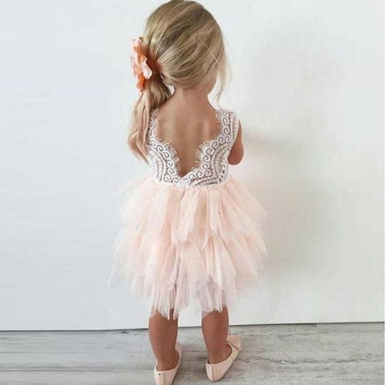 Pink Lace Tulle Flower Girl Dresses, Lovely Tutu Dresses, Flower Girl Dresses, PD0047