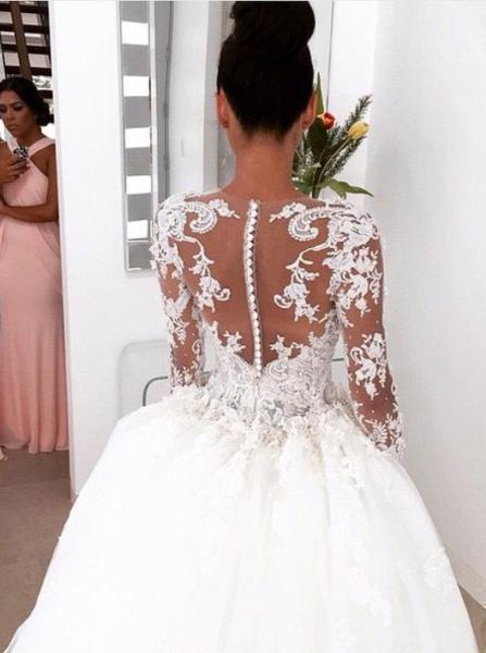 Gorgeous Attractive Bateau Neckline Ball Gown Long Sleeve Wedding Dresses With Appliques, Wedding Gown, PD0659