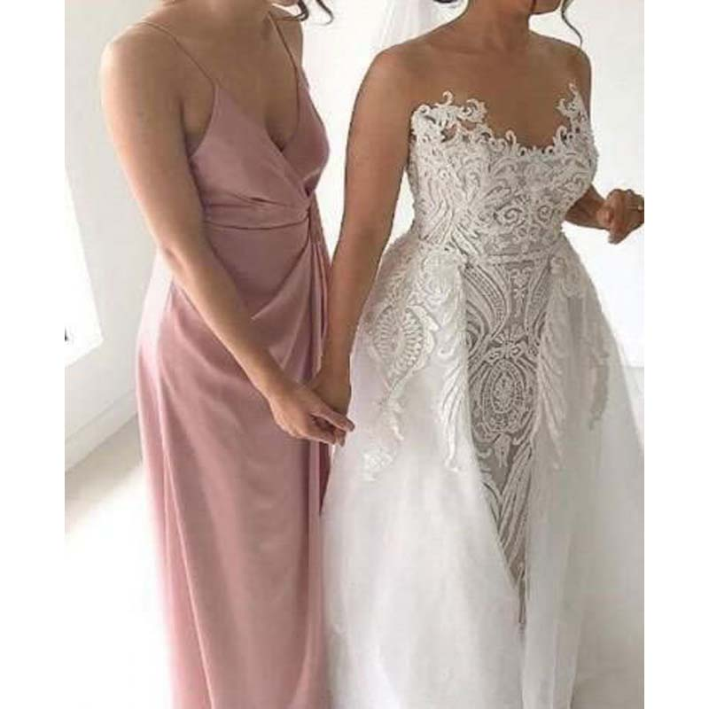 Simple Spaghetti Straps Dusty Pink Long Mermaid Bridesmaid Dresses, Bridesmaid Dresses, PD0445