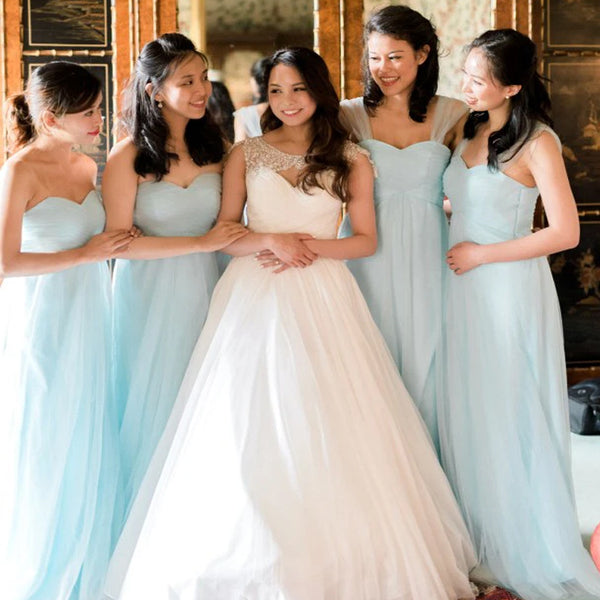 Popular Mismatched Blue Long A-Line Tulle Bridesmaid Dresses, PD01693