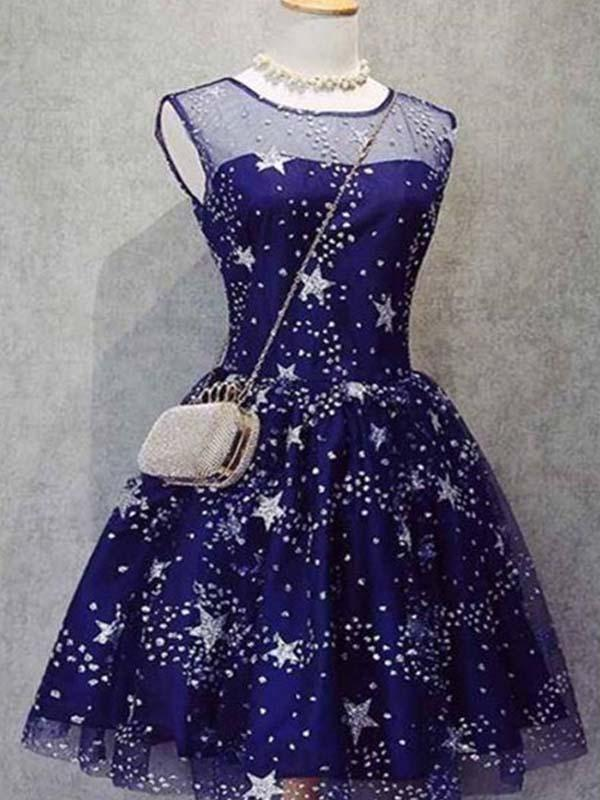 Sparkly Scoop Neckline Royal Blue A-Line Short Homecoming Dresses With Beaded, Unique Homecoming Dresses, PD0257