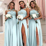 Charming Illusion Lace Top Long A-Line Chiffon Side Slit Bridesmaid Dresses, Bridesmaid Dresses, PD0612