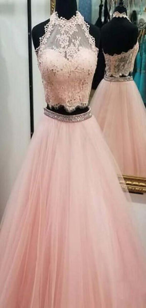 Pink Halter Lace Top Two Piece Long A-Line Tulle Prom Dresses With Beaded, Prom Dresses, VB01915