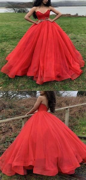 Red Sweetheart Long Ball Gown Tulle Prom Dresses, Prom Dresses, PD0522