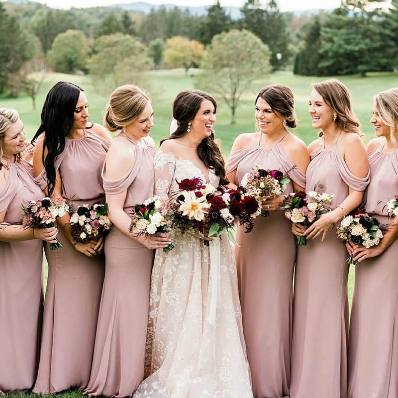 Elegant Halter Long Sheath Bridesmaid Dresses, 2019 Bridesmaid Dresses, VB02376