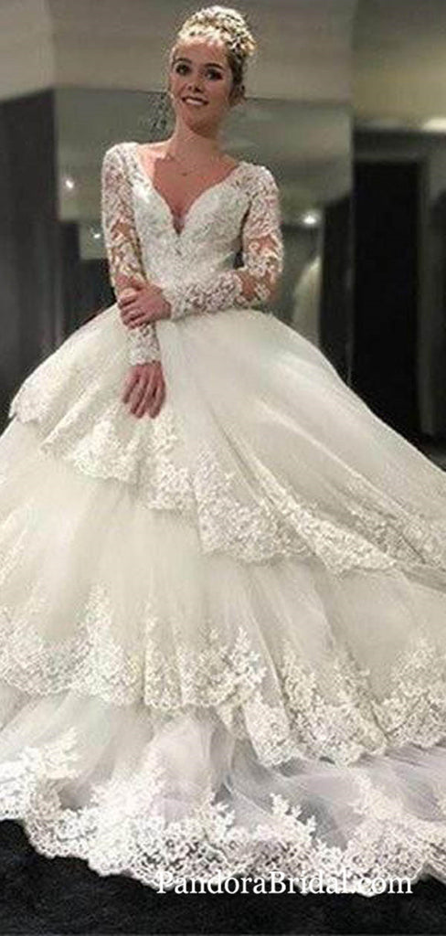Gorgeous V Neck Long Sleeve Lace Cupcake Layered Wedding Dresses Wedding Gowns Pd0656