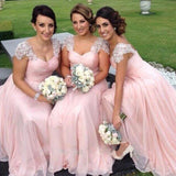 Pink Cap Sleeve With Beaded Open Back Pleating Chiffon Bridesmaid Dresses, Long A-Line Bridesmaid Dresses, PD0232