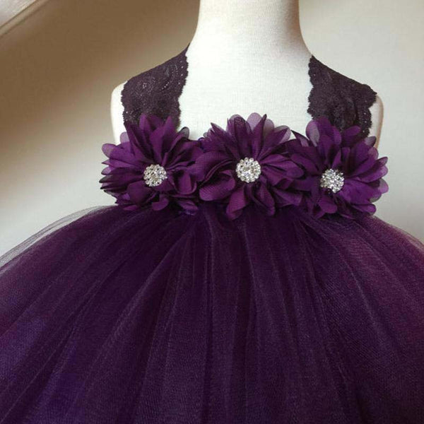 Charming Purple Lace Straps A-Line Tulle Flower Girl Dresses With Hand-made Flowers, Cute Flower Girl Dresses, PD0112