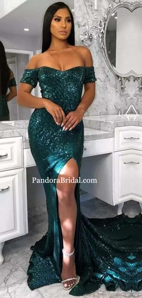 Shiny Off The Shoulder Sequin Side Slit Mermaid Prom Dresses, Prom Dresses, PD0342