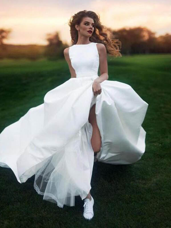Elegant Bateau Neckline Long A-Line Satin Wedding Dresses, Bridal Gown, PD0752