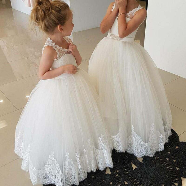 Princess A-line Ivory Long Flower Girl Dress With Sash,Scoop Neckline Open Back Flower Girl Dresses With Lace, PD0013