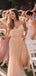 Charming Blush Pink Spagehtti Straps Chiffon Bridesmaid Dresses, VB02937