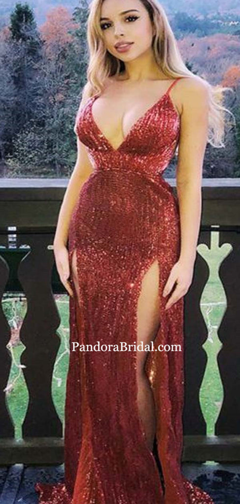 Shiny Burgundy Spaghetti Straps Long Mermaid Side-Slit Prom Dresses, Prom Dresses, PD0456