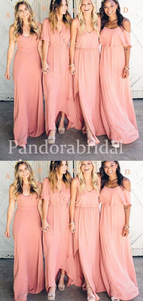 Charming Mismatched Long Chiffon Bridesmaid Dresses, PD01712
