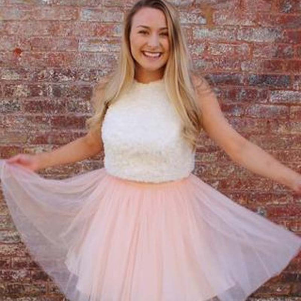 Pink A-Line Tulle Short Homecoming Dress With White Lace Top, Lovely Homecoming Dresses, PD0123