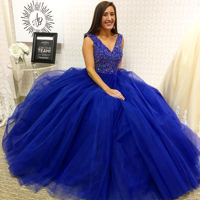 Sparkly Top Sequin V-Neck Royal Blue Long Prom Dress, Hot Sale A-Line Floor Length Prom Dresses, PD0176