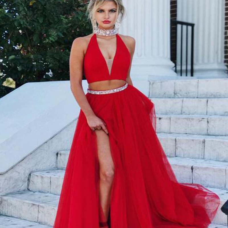 297ad1c421b 2018 Two Piece Prom Dress Simple Modest Beautiful Red Cheap Long Prom Dress